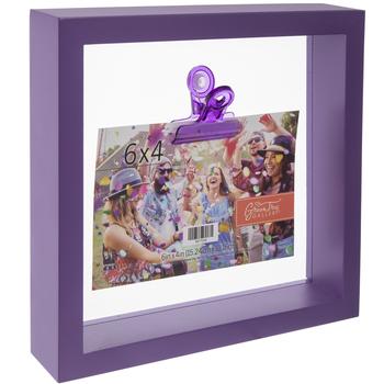 "Purple Wood Clip Frame - 6"" x 4"""