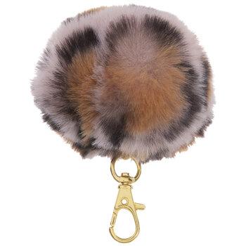 Pink & Brown Leopard Fuzzy Pom Pom Keychain