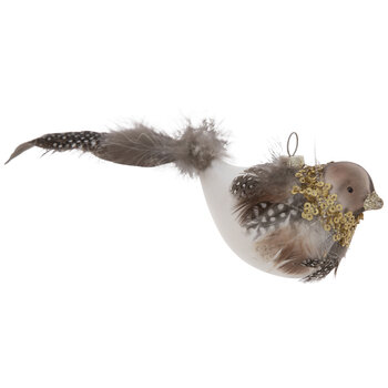 Gold Glitter & Brown Feather Bird Ornament