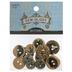 Blue Vintage Print Wood Buttons