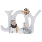 White & Blue Joy Nativity Scene