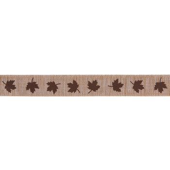 "Natural & Brown Maple Leaf Ribbon - 7/8"""