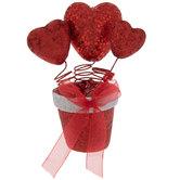 Hearts In Red Glitter Flower Pot