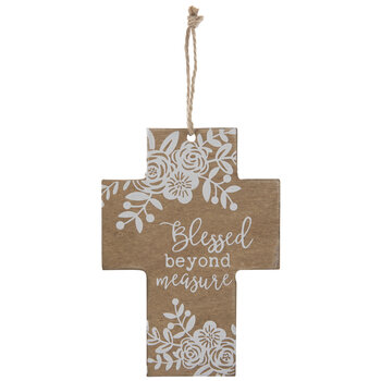 Floral Blessed Beyond Measure Wood Wall Cross