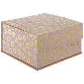Pink & Gold Leopard Print Square Box