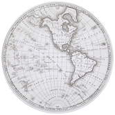 Round World Map Canvas Wall Decor