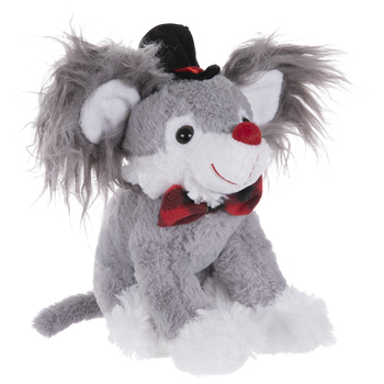 Gray & White Mouse Plush With Hat
