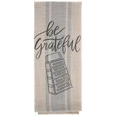 Be Grateful Striped Kitchen Towel