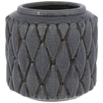 Gray Diamond Crackled Flower Pot