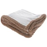 Cream Sherpa Edge Throw Blanket