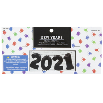 Black 2021 Balloon Banner