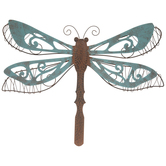Turquoise Dragonfly Metal Wall Decor