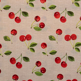 Cherries On Linen Duck Cloth Fabric