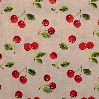 Cherries On Linen Duck Cloth Fabric