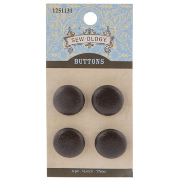 Brown Faux Leather Shank Buttons