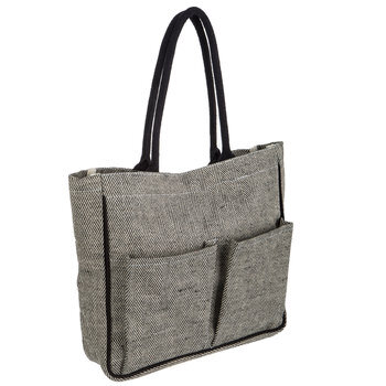 Laminated Canvas Tote Bag With Pockets