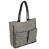 Herringbone Laminated Canvas Tote Bag With Pockets