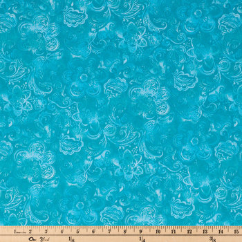 Turquoise Wide Floral Cotton Calico Fabric