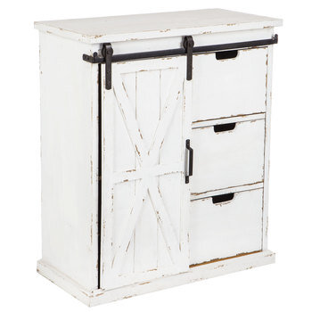 White Farmhouse Cabinet with Sliding Door