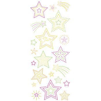 Neon Star Glitter Stickers