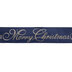 Navy & Gold Merry Christmas Wired Edge Ribbon - 2 1/2