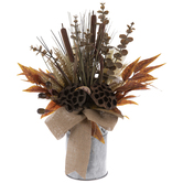 Cattail & Lotus Pods Arrangement In Can