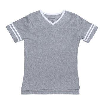Gray & White Baseball V-Neck Adult T-Shirt - Extra Small