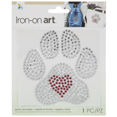 Paw With Heart Rhinestone Iron-On Applique