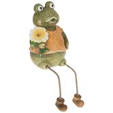 Frog With Flower Shelf Sitter