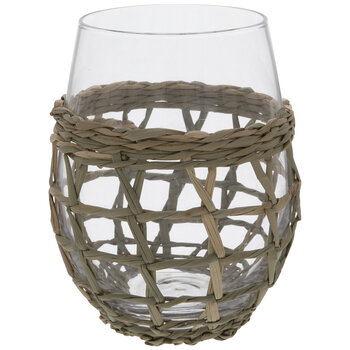 Seagrass Wicker Stemless Glass