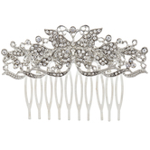 Ornate Butterfly Rhinestone Hair Comb