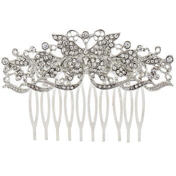 Ornate Butterfly Rhinestone Hair Comb