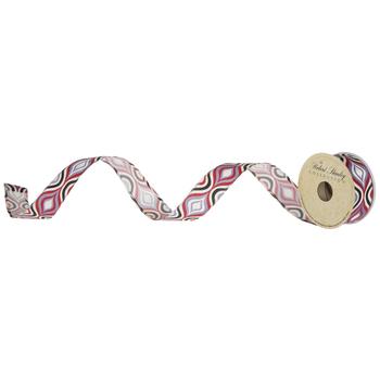 "Black, Red, Purple & Cream Layered Ovals Wired Edge Ribbon - 1 1/2"""