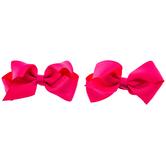 Hot Pink Grosgrain Bow Hair Clips - Small