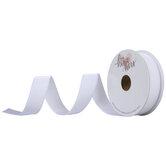 """White Single-Face Velvet Ribbon - 7/8"""""""
