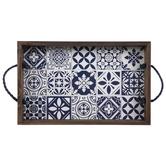 White & Blue Tile Wood Tray