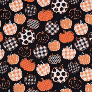 Orange, Black & White Patterned Pumpkins Cotton Fabric
