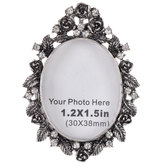 Rhinestone Floral Photo Frame Brooch