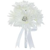 White Gerbera Daisy Bouquet With Rhinestones