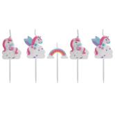 Unicorn & Rainbow Candle Picks
