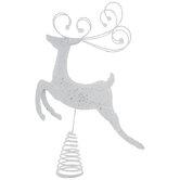White Reindeer Metal Tree Topper
