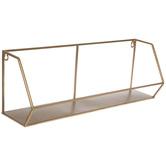 Gold Geometric Metal Wall Shelf