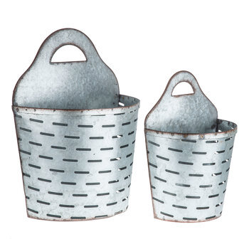 Slotted Metal Wall Basket Set