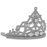 Silver Glitter & Rhinestone Crown Ornament