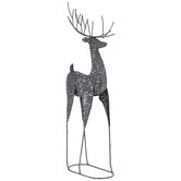 Gray Glitter Metal Reindeer