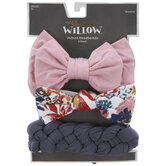 Pink Bow & Braided Infant Headbands