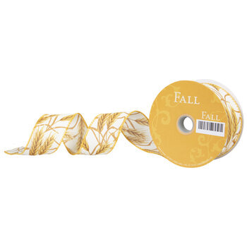 """Golden Wheat Wired Edge Ribbon - 1 1/2"""""""