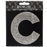 Rhinestone Letter Iron-On Applique - C