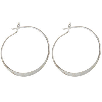Sterling Silver Plated Hoop Ear Wires - 21mm