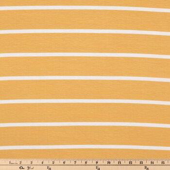 Mustard & Ivory Striped Knit Fabric